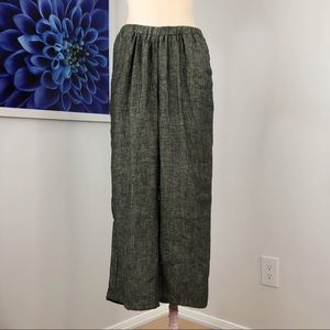 FLAX Wide Leg High Rise Linen Ankle Pants